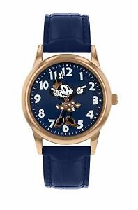 Disney-Minnie-Mouse-Women-039-s-Rose-Gold-Case-Blue-Leather-Strap-Watch-MN1548