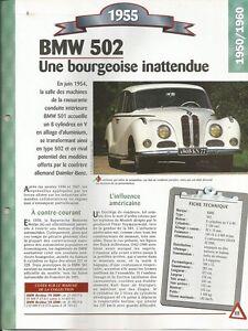 VOITURE BMW 502 FICHE TECHNIQUE AUTOMOBILE 1955 COLLECTION CAR
