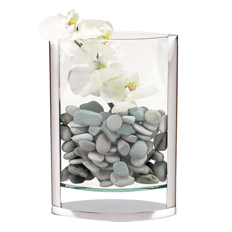 (D) Decorative  Donald  Glass Flower Vase 14 H w  Non-Tarnish Aluminum (S1003)
