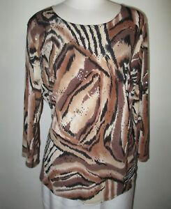 Dressbarn-Woman-Women-039-s-Embellished-Top-Blouse-Size-1X-Animal-Print-3-4-Sleeve