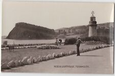LIGHTHOUSE, SAILOR, WOMAN WITH PRAM  NESS TEIGNMOUTH POSTCARD REAL PHOTO 1900s