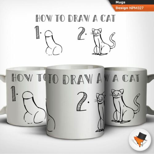 How to draw a cat adult humour coffee tea mug cup gift birthday anniversary
