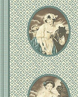 In the Manor Cameo Blue Green 100% Cotton Quilting Fabric 1 Metre