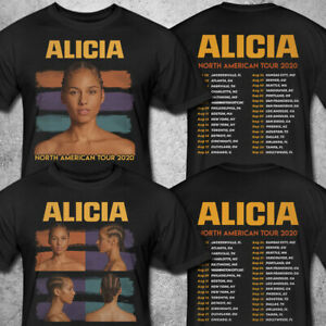 Alicia Keys T-Shirt /'The World Tour 2020/' with Full Dates Black Shirt