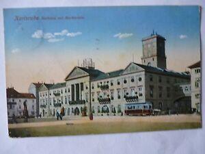 Ansichtskarte-Karlsruhe-1914-Rathaus-mit-Marktplatz-Strassenbahn