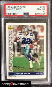 1993-Upper-Deck-Emmitt-Smith-359-PSA-10-Gem-Mint-Nice-HOF-Cowboys-H2i