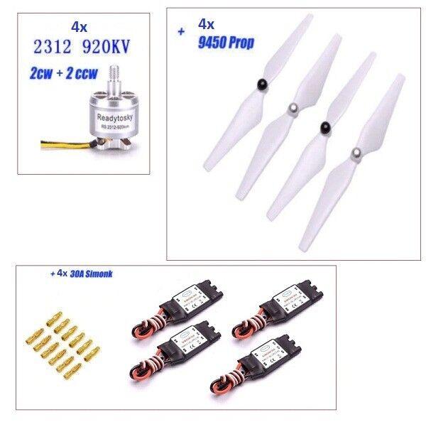 4 X 2312 920KV Brushless Motor +4x 30A Simonk Esc +4x 9450 Propeller for X500