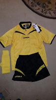 Legea Soccer Referee Completed Uniform Shirt Pants & Socks Yellow & Black