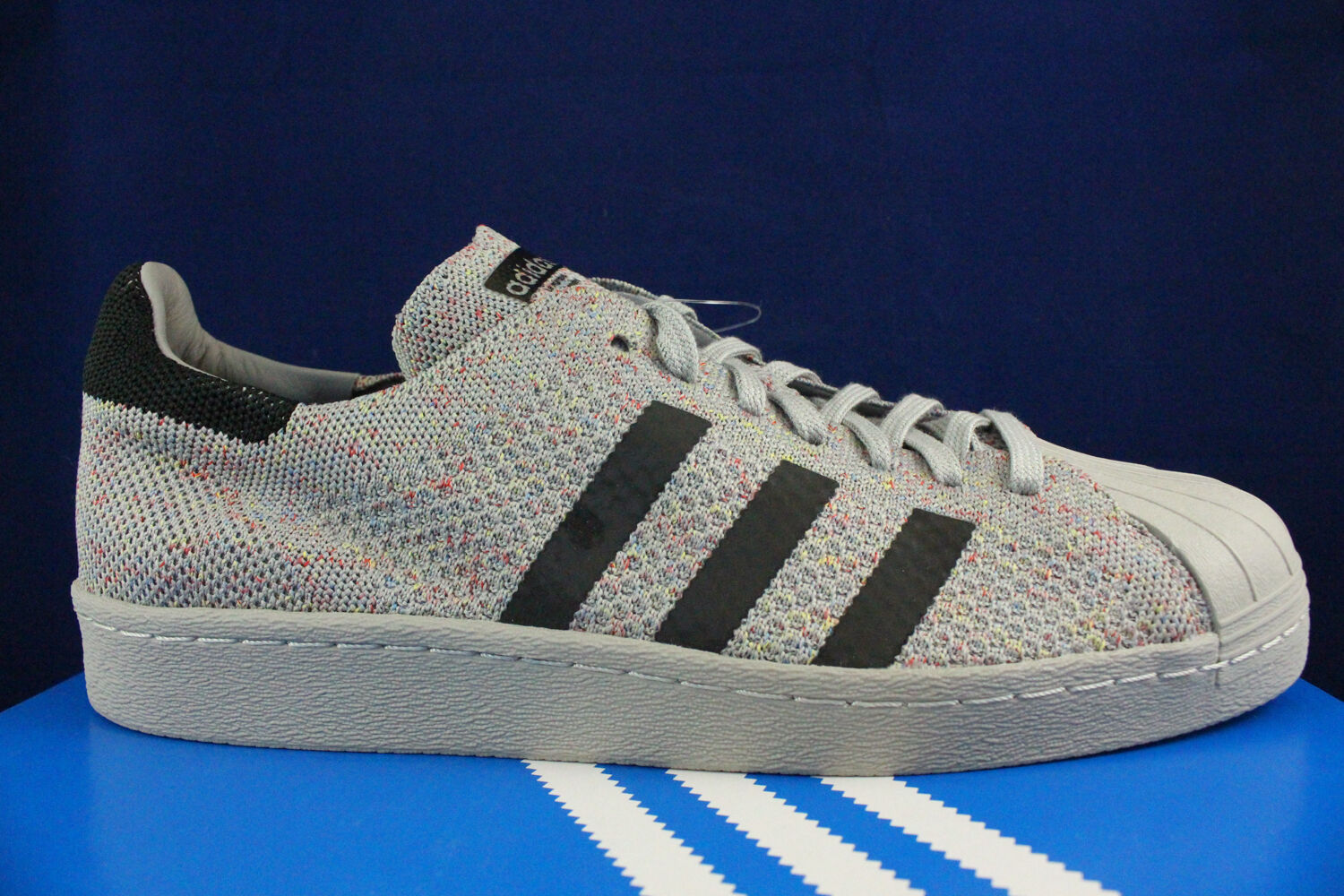 ADIDAS ORIGINALS SUPERSTAR 80'S PRIMEKNIT MULTI COLOR SOLID GREY S75843 SZ 12