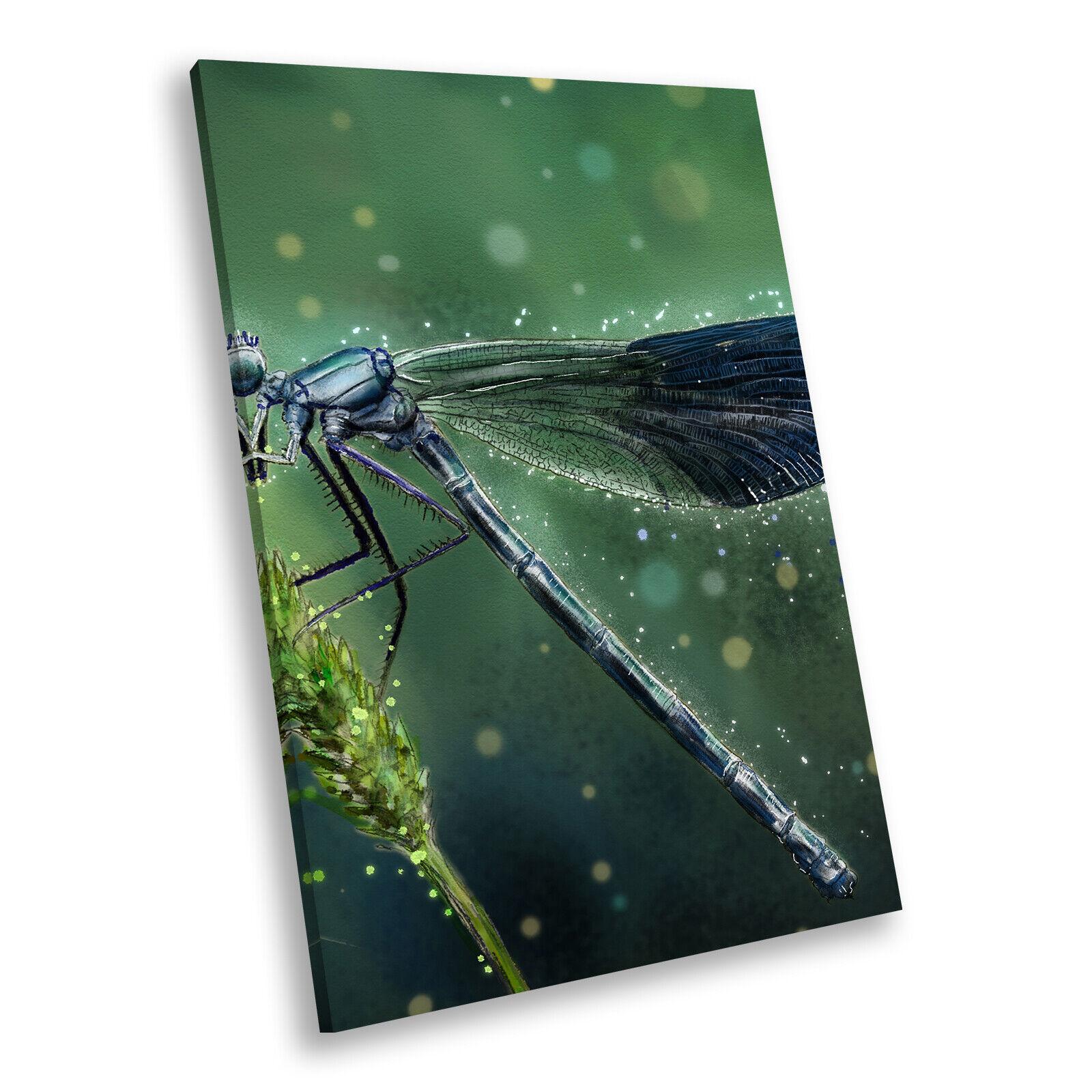 Blau Dragonfly Grün Light Portrait Animal Canvas Wall Art Picture Prints