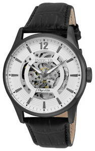 Invicta-Objet-d-039-Art-22597-Men-039-s-Round-White-Automatic-Analog-Leather-Watch