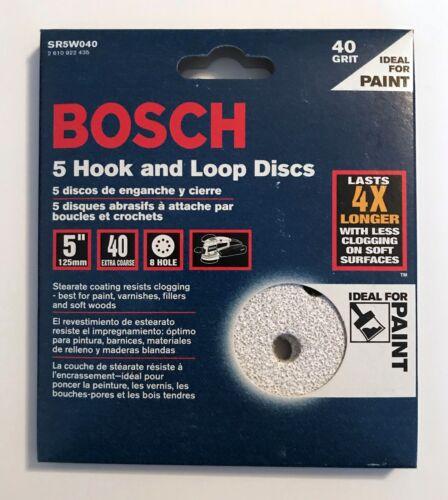 "25 BOSCH 5/"" 8 HOLE HOOK /& LOOP SANDING DISCS 40 GRIT VELCRO 5 PACKS OF 5 SR5W040"