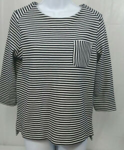 Elle-Women-039-s-Blouse-Size-Medium-Black-White-Striped-Back-Zip-Knit-Top
