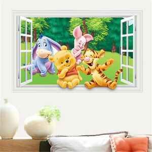 3d winnie the pooh crack smash wall stickers decal kids for Baby pooh and friends wall mural