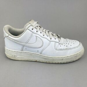 Nike-Air-Force-1-Triple-White-Leather-Men-039-s-Trainers-Size-42-5-UK8-316122-111