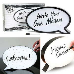 Details about LED LIGHT UP SPEECH BUBBLE BOX WRITE YOUR OWN MESSAGE SIGN  PARTY HOME DECOR NEW