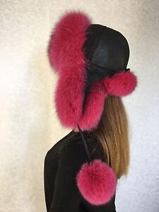 7934329a75d94 Blue Fox Fur Hat Leather Trapper Pom Pom Raspberry Pink Ushanka Hat ...