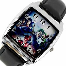BATMAN JOKER SUPERMAN FLASH COMICS SUPERHEROES Steel LEATHER FILM SQUARE WATCH