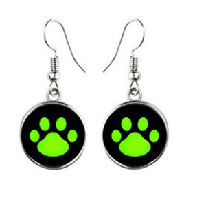 Earring Dog Paw Black Neon-Coloured Glows IN The Dark