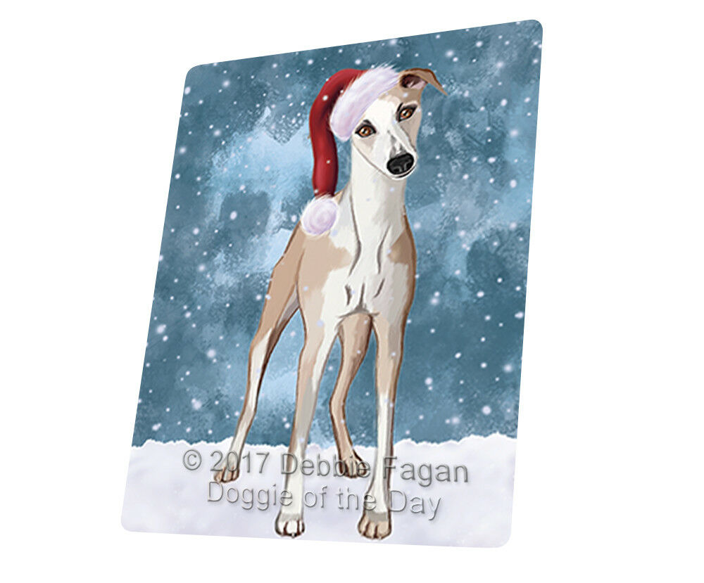 Let it Snow Christmas Holiday Whippet Dog Woven Throw Sherpa Blanket T40