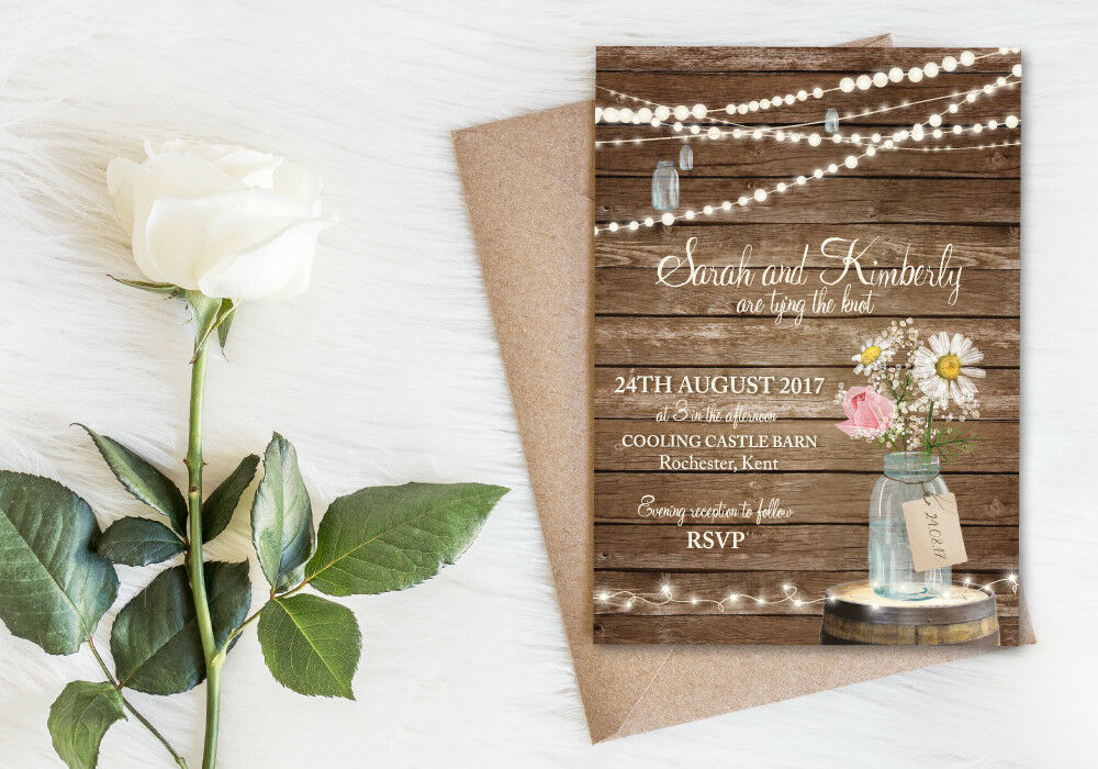 50 Rustic Wood Jam Jar Fairy Lights Barn Country Wedding Invitations