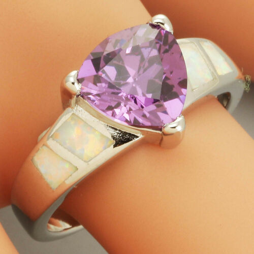 White Fire Opal 9x9 Trillion Cut Amethyst Silver Ring UK Size N P S W 7 8 9 11