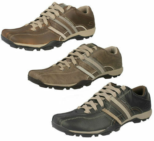 MENS SKECHERS URBAN TREND CASUAL LEATHER LACE UP EVERYDAY TRAINERS REFRESH 50856