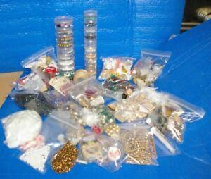 Large-flat-rate-box-Beads-Bead-wire-Glass-plastic-Fun-Lot-8-pounds