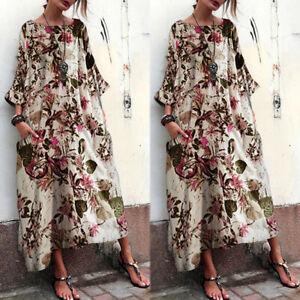 Vintage-Femme-Oversize-Floral-Manche-3-4-Casuel-Loose-Longue-Robe-Maxi-Plus