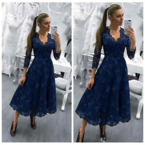 New-Mother-Of-The-Bride-Dresses-V-Neck-Navy-Blue-Long-Sleeves-Appliques-Sequins