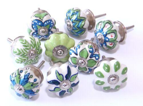 4,5 cm Ø Schrankknöpfe Blau,Grün,Weiß  Keramik im Set Muster gemischt 9 Stück
