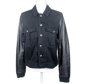 FREE PEOPLE Black Jean Jacket Vegan Leather Sleeves Denim XS Extra Small