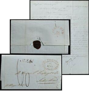 Batavia,East Indies SFL 1841 to Holland  HELLEVOETSLUIS ZEE BRIEF / Ship Letter