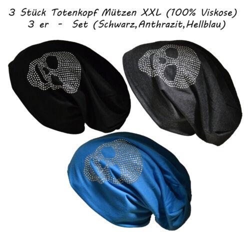 3 Stück Totenkopf Set Long Beanie Mütze XXL mit Strass Skull Unisex Trend Black