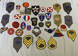 Vintage-Lot-U-S-Military-Patches-Stickers-Metal-Badges-Bars-WWII-ROTC-Lot-3
