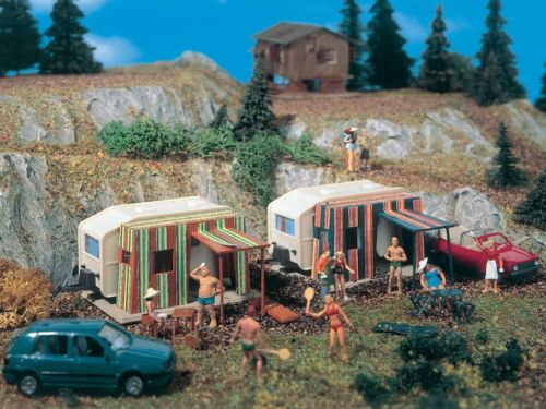 Vollmer 5145, Campers with Vorzelt, H0 Accessorie Building Kit 187, New