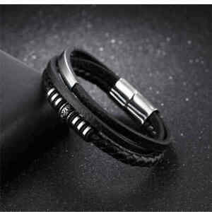 Armband-Herren-Leder-Edelstahl-Magnetverschluss-Schwarz-Silber-Biker