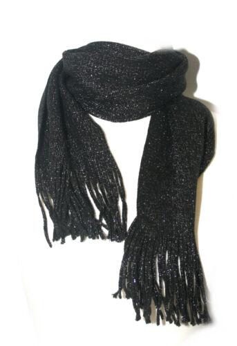 16cm x 180cm Schal in schwarz mit Glitzerfäden und Fransen ca