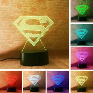 Super-Hero-Superman-Acrylic-3D-LED-Night-Light-Touch-Table-Desk-Lamp-KIDS-Gift