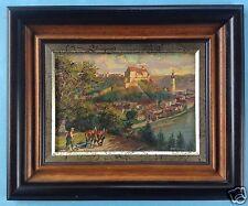 4v4: Ölgemälde pflügender Bauer Burg zu Burghausen Salzach Hans Holzapfel ~1920