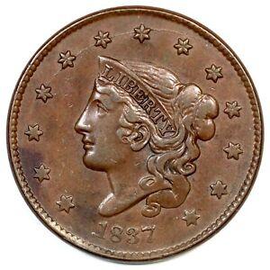 1837-N-5-R-2-Plain-Cords-Sm-Lett-Matron-or-Coronet-Head-Large-Cent-Coin-1c