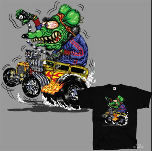 * Hot Rod T-Shirt Rockabilly fink Comic Speed Garage Shop Kustom RAT *1099