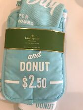 """kate spade """"Order's Up"""" turquoise and white, set / potholder, towel & oven mitt"""