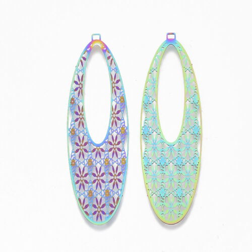 5//10pcs 201 Stainless Steel Filigree Pendants Colorful Dangle Charms DIY Earring