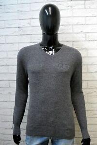 GUESS-Uomo-Taglia-XS-Maglione-Grigio-Uomo-Maglia-Cardigan-Pullover-Sweater-Man