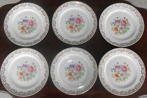 Set-of-6-Vintage-Stetson-China-10-1-4-Inch-Dinner-Plates-Floral-22Kt-Gold-Flower