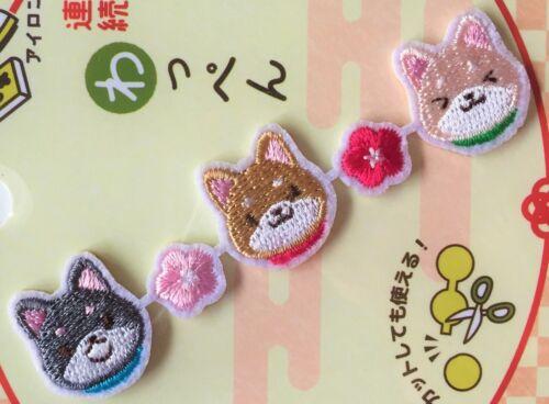 Embroidered Applique Patch Dog Shiba Inu Sakura Cherry blossom Sew Iron On JAPAN