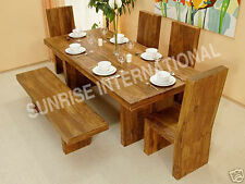 Cube Style Wooden Wood Dining table with 4 Chairs & 1 Bench set !