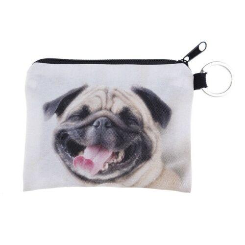 Unisex 3D Bulldog Coin Purse Money Bag Square Zipper Wallet Pouch Handbag V N6O3