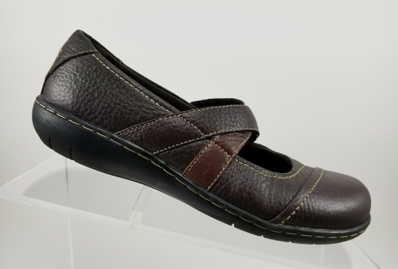 Clarks Bendables Women's Brown Leather 39257 Slip On Mary Jane shoes Sz 6.5M